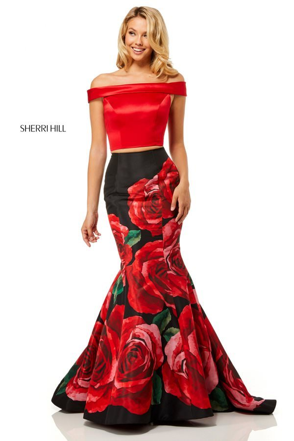 c13dda12f1aa6 Sherri Hill 51850 two piece off-the-shoulder bodice with open ...